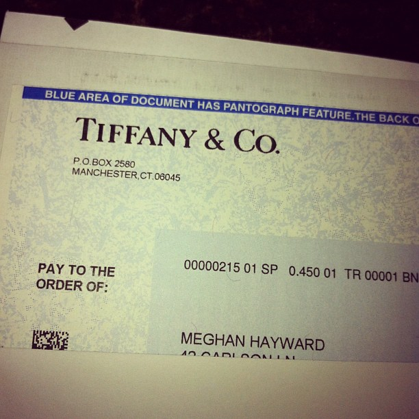 First Payout as a Tiffany and Company Shareholder
